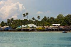Hölzerne Häuser, Penyengat Insel, Indonesien Stockfotografie