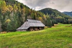 Hölzerne Hütte in den Bergen Lizenzfreie Stockbilder