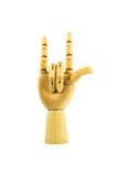 Hölzerne Hand auf lokalisiertem Weiß Lizenzfreies Stockbild