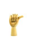 Hölzerne Hand auf lokalisiertem Weiß Lizenzfreies Stockfoto
