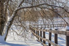 Hölzerne Hecke und Baum in den Schneewehen an einem Wintertag lizenzfreie stockfotografie