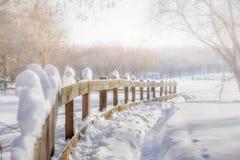 Hölzerne Hecke und Weg in den Schneewehen an einem Wintertag lizenzfreies stockfoto