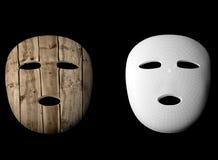 Hölzerne Illustration der Maske 3d Lizenzfreie Stockfotos