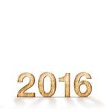 Hölzerne 2016-jährige Zahl auf weißem Hintergrund, Schablone für das Addieren von y Lizenzfreie Stockbilder