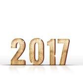 Hölzerne 2017-jährige Zahl auf weißem Hintergrund, Schablone für das Addieren von y Lizenzfreies Stockbild