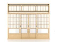 Hölzerne japanische Shojitür lokalisiert auf weißem Hintergrund lizenzfreie stockbilder