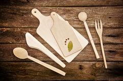 Hölzerne Küchehilfsmittel Lizenzfreies Stockfoto