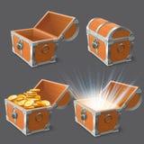 Hölzerne Kasten Schatzkiste, alter glänzender Goldkasten und geschlossenen oder offenen leeren Vektor-Illustrationssatz der Käste vektor abbildung