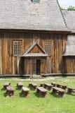 Hölzerne Kirche des 18. Jahrhunderts im Freilichtmuseum, ländliche Landschaft, Tokarnia, Polen Stockfoto