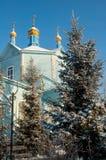 Hölzerne Kirche unserer Dame von Kasan Chimeevo stockfotos