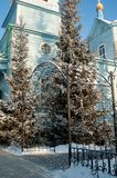 Hölzerne Kirche unserer Dame von Kasan Chimeevo lizenzfreie stockfotos