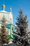 Hölzerne Kirche unserer Dame von Kasan Chimeevo stockbilder