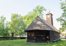 Hölzerne Kirche von Dorf Topla - Banat ethnographisches Museum Lizenzfreies Stockbild