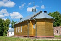 Hölzerne Kirche zu Ehren des Heiligen Michael Klopsky Dreiheit Mikhaylo-Klopskykloster Novgorod-Region, Stockbild