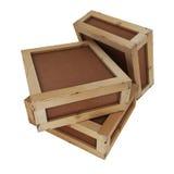 Hölzerne Kisten mit Beschneidungspfad Stockfotografie