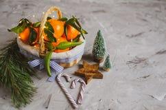 Hölzerne Korb-Mandarine mit Blättern und Lichtern, Tangerine-Orange auf Gray Table Background Christmas New-Jahr-Dekors lizenzfreie stockfotos
