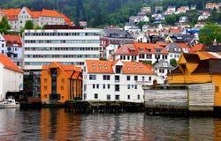 Hölzerne Lager Bergen Harbor Norway Lizenzfreies Stockfoto