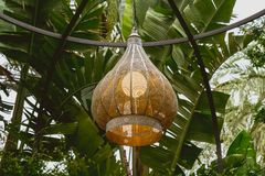 Hölzerne Lampe, die von der Decke hängt lizenzfreies stockfoto