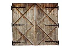 Hölzerne Landtür der alten Scheune lokalisiert auf Weiß Lizenzfreie Stockfotografie