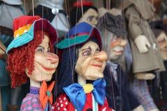 Hölzerne Marionettenmarionetten für ein Kindertheater Lizenzfreies Stockfoto