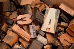 Hölzerne Maschinenschriftsatzbuchstaben innerhalb eines Kastens Stockbild