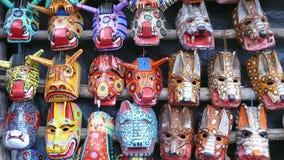 Hölzerne Masken. Guatemala Stockfoto
