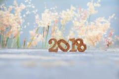 Hölzerne Nr. 2018 auf Planke und Unschärfe bedeckt Blumenhintergrund mit Gras Lizenzfreies Stockbild