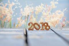 Hölzerne Nr. 2018 auf Planke und Unschärfe bedeckt Blumenhintergrund mit Gras Stockbilder