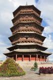Hölzerne Pagode Pagode von Fogong-Tempel, Yingxian, älteste existente hölzerne Pagode in China Lizenzfreies Stockfoto