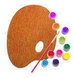 Hölzerne Palette mit Farbfarben und Bürste lokalisiert auf Weiß Stockbild