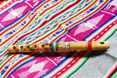 Hölzerne peruanische Flöte Stockfoto