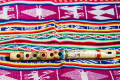 Hölzerne peruanische Flöte Stockbilder