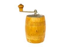 Hölzerne Pfeffermühle der Weinlese lokalisiert auf Weiß Stockfotos