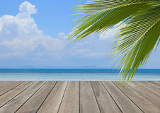 Hölzerne Planke über Strand mit KokosnussPalme Stockfoto