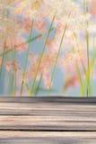 Hölzerne Planke auf Unschärfe bedeckt Blumenhintergrund mit Gras Lizenzfreie Stockfotografie