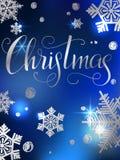 Hölzerne Planken und Schneeaufschrift Hand schriftliches Weihnachtsplakat Moderne Hand Stockbilder