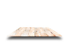 Hölzerne Plankenregale und weißer Hintergrund Für Produktanzeige stockbild