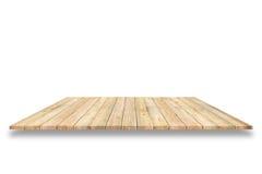 Hölzerne Plankenregale und weißer Hintergrund Für Produktanzeige lizenzfreie stockfotos