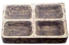 Hölzerne Platte für Fleisch in Form eines alten Fensters, hölzerner Behälter für Fleisch Lizenzfreies Stockfoto
