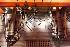 Hölzerne Plattform des historischen Militärschiffs Lizenzfreie Stockfotografie