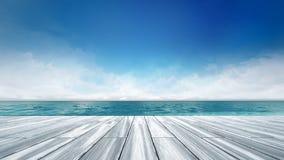 Hölzerne Plattform mit Seelandschaft am Tageslicht Lizenzfreies Stockfoto