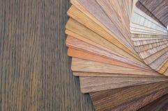 Hölzerne Proben für Bodenlaminat oder -möbel im Haupt- oder Handelsgebäude Kleine Farbfarbpaletten Kopieren Sie Raum, Design stockbild