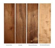 Hölzerne Proben von Holz, von Cristobal, von Rosenholz und von Birne Goncalo, lokalisiert lizenzfreies stockfoto