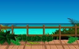 Hölzerne Promenade auf dem Strand lizenzfreie abbildung