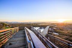 Hölzerne Promenade durch die Gezeiten- Sümpfe von Alviso, Don Edwards San Francisco Bay National-Schutzgebiet, San Jose, Kaliforn lizenzfreies stockbild
