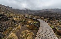 Hölzerne Promenade in Nationalpark Tongariro lizenzfreie stockfotografie