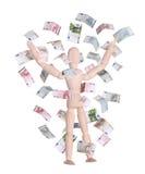 Hölzerne Puppe im Regen der Euros Lizenzfreies Stockfoto