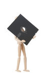 Hölzerne Puppe mit 5.25 Inch flopppy lizenzfreie stockfotos