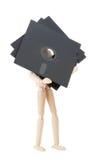 Hölzerne Puppe mit den 5.25 Inch flopppies stockbilder