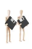 Hölzerne Puppen mit den 3.5 Inch flopppies lizenzfreies stockfoto